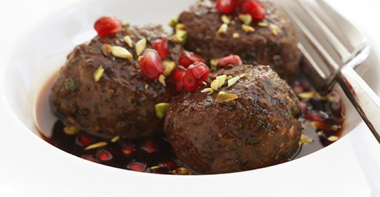 Meatballs with Honey Harissa Pomegranate Glaze