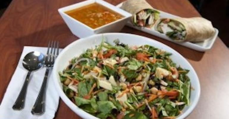 A salad soup and wrap combo from The Big Salad