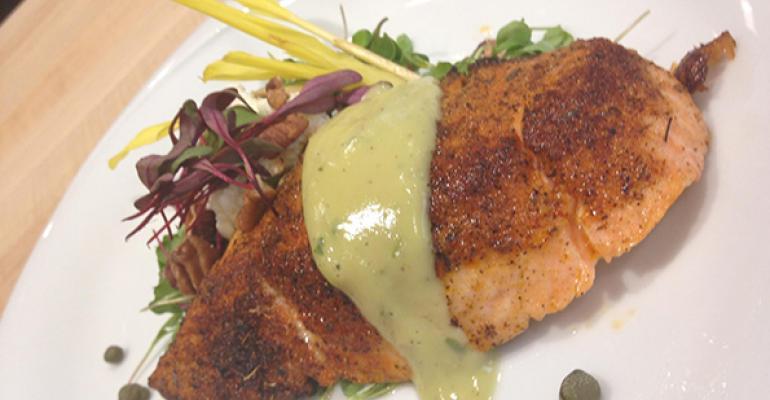 Blackened Salmon Over Micro Greens With Avocado Vinaigrette