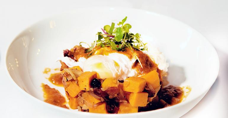 Cranberry Sweet Potato Hash with Poached Egg