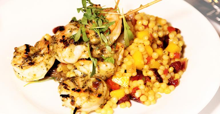 Grilled Spicy Cranberry Pesto Shrimp over Curried Israeli Couscous with Mango and Dried Cranberries