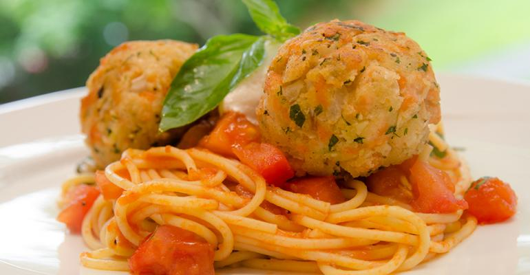 Spaghetti with Salmon Meatballs with Fresh Tomato Basil Ragout