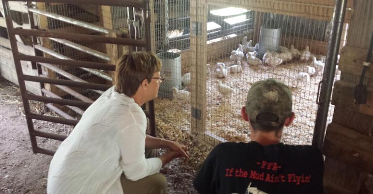 USDA Undersecretary Dr Katie Wilson checking out some chickens slated for Holmen School District39s Winner Winner Chicken Dinner Part Deuce