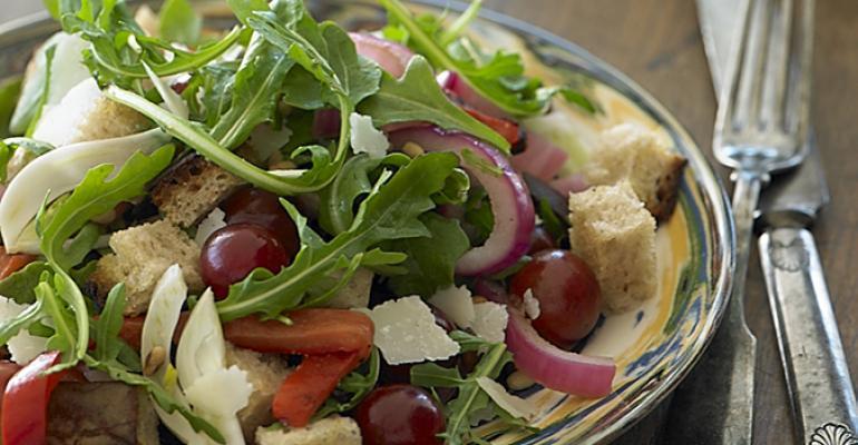Arugula and Grape Bread Salad