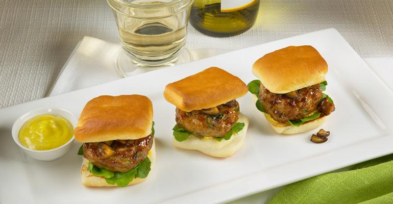 Mini Duck Burgers with Shiitake Mushroom Ketchup and Chinese Mustard Sauce