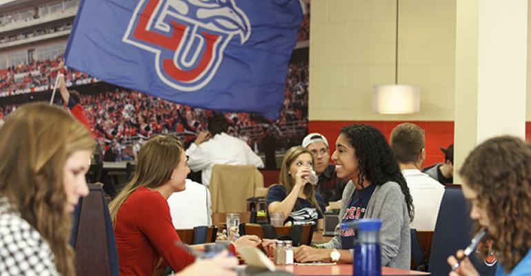 ReberThomas Dining Hall serves as the main dining facility for Liberty Universityrsquos 8000plus campus resident students who get universal access as part of their meal plans
