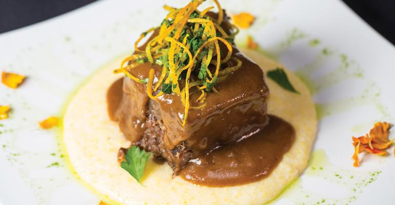 Zinfandel Braised Grass-fed Short Ribs with Orange Gremolata served over Soft White Cheddar Polenta