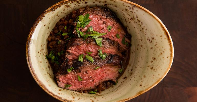 Marinated Australian Bottom Sirloin Flap with Braised Black Lentils