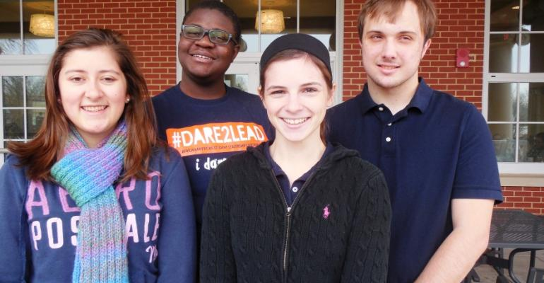 Student Dining Ambassadors for Sodexo at the University of Mary Washington include l to r Julia Gibbons Josiah Hilliard Savannah Steblein and Bryant Atkins