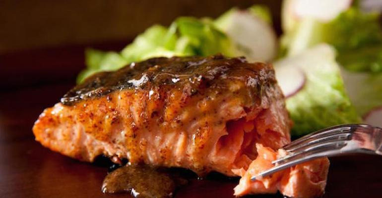 Ginger-rubbed salmon with maple-soy glaze