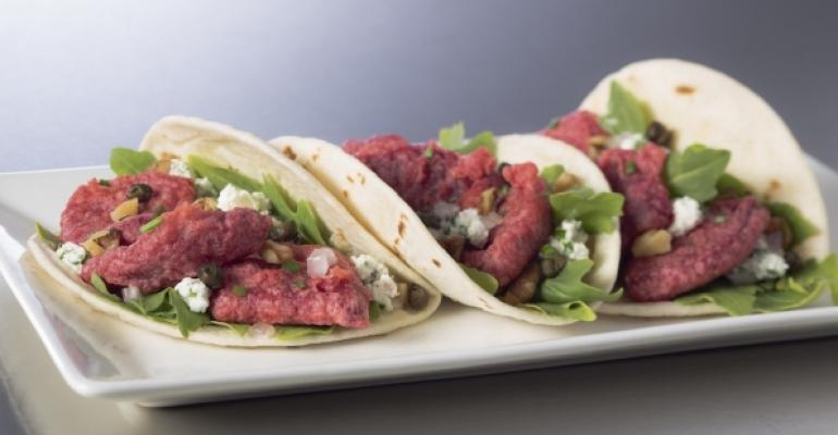 Fried beet and goat cheese mini tacos