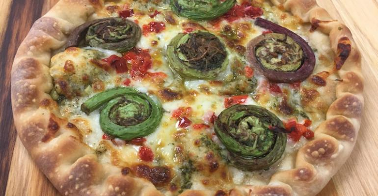 Fiddlehead fern pizza