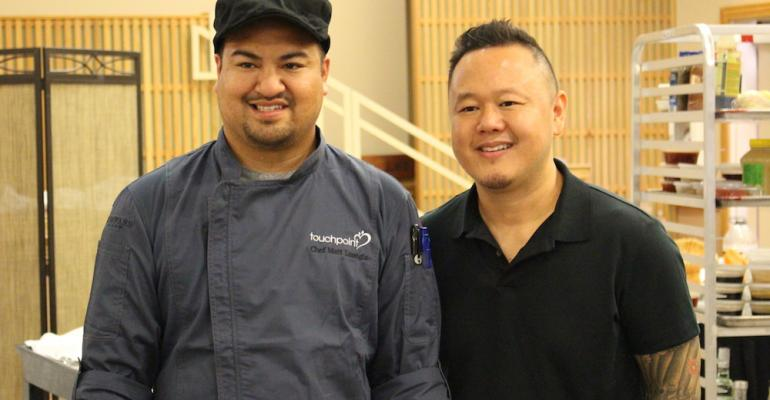 Chef Matt Luangla winner of the competition and Jet Tila celebrity chef of Food Network fame