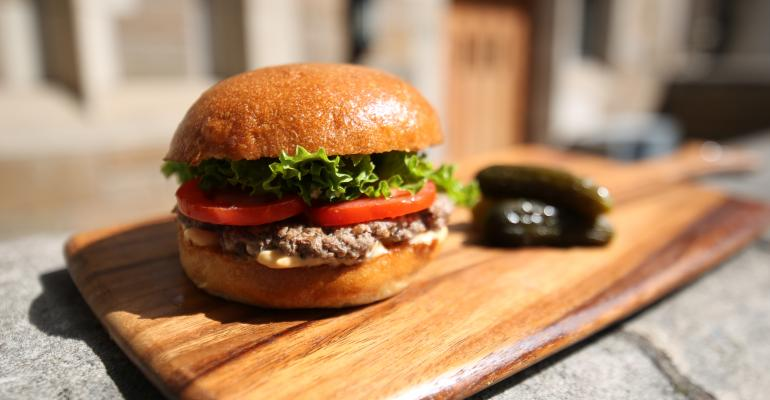 The Mushroom burger blended with 100 percent grassfed grassfinished beef