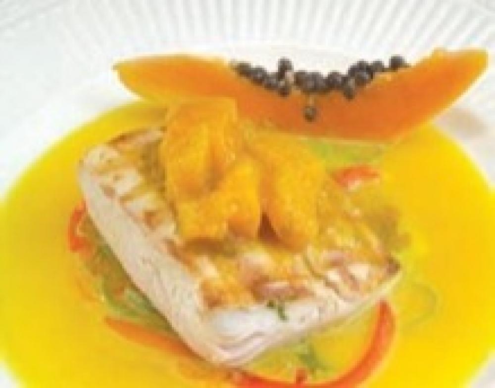 Seared Florida Mahi with Papaya Coconut Curry Sauce