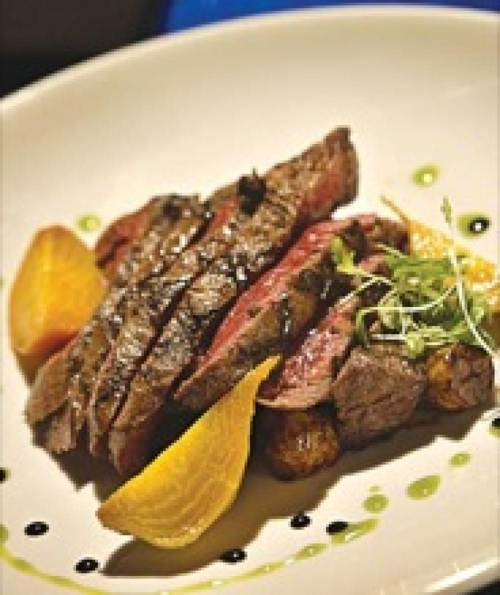 Kobe Flat Iron Steak with Marble Potatoes and Balsamic