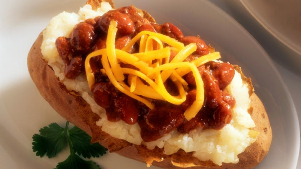 Chili Topped Baked Potatoes