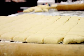 Fresh Fastnacht Doughnuts before they are fried (photo: Nathan Shields, Messiah Lifeways)